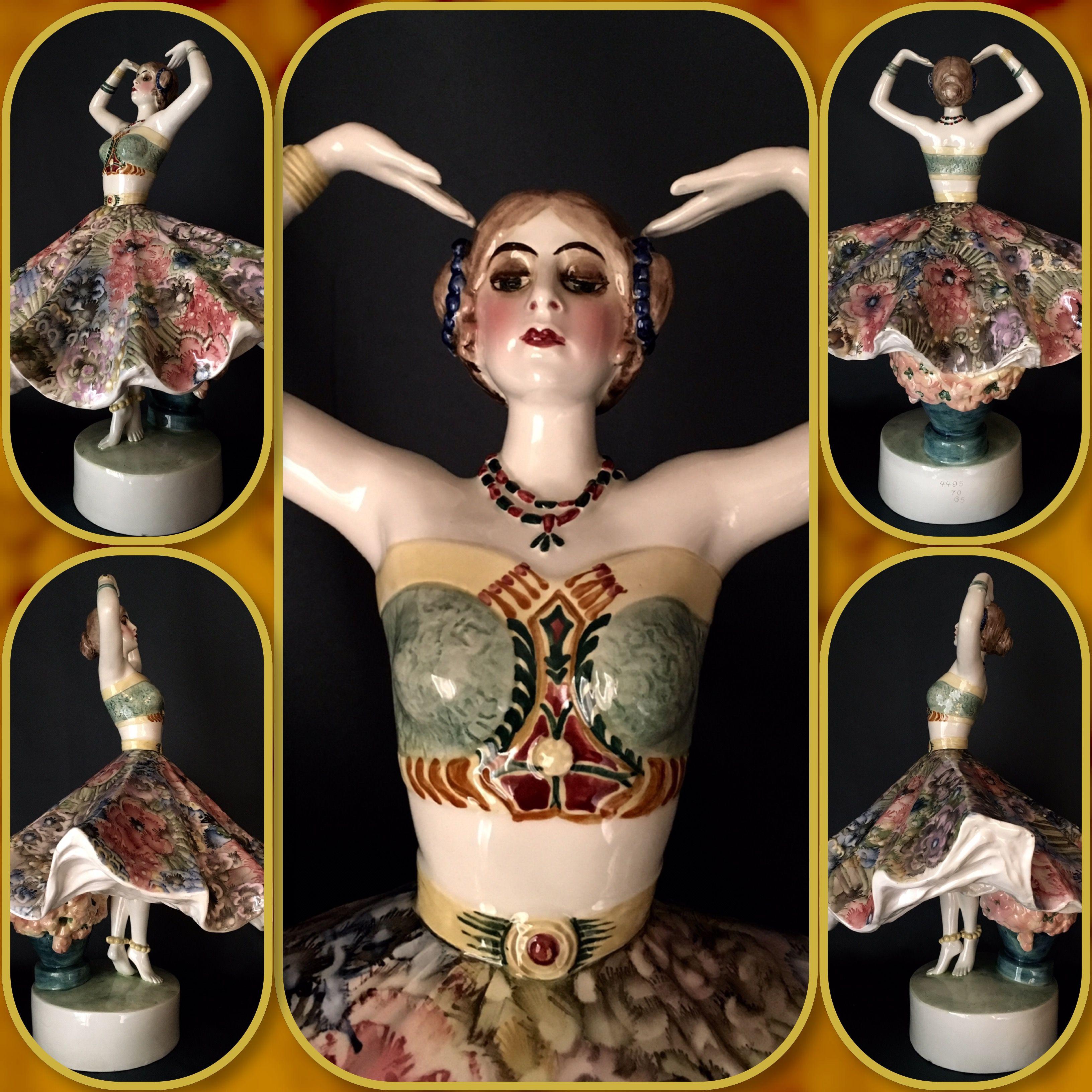 Antique Austrian Goldscheider Art Deco Porcelain Figurine Of Indian dancer.