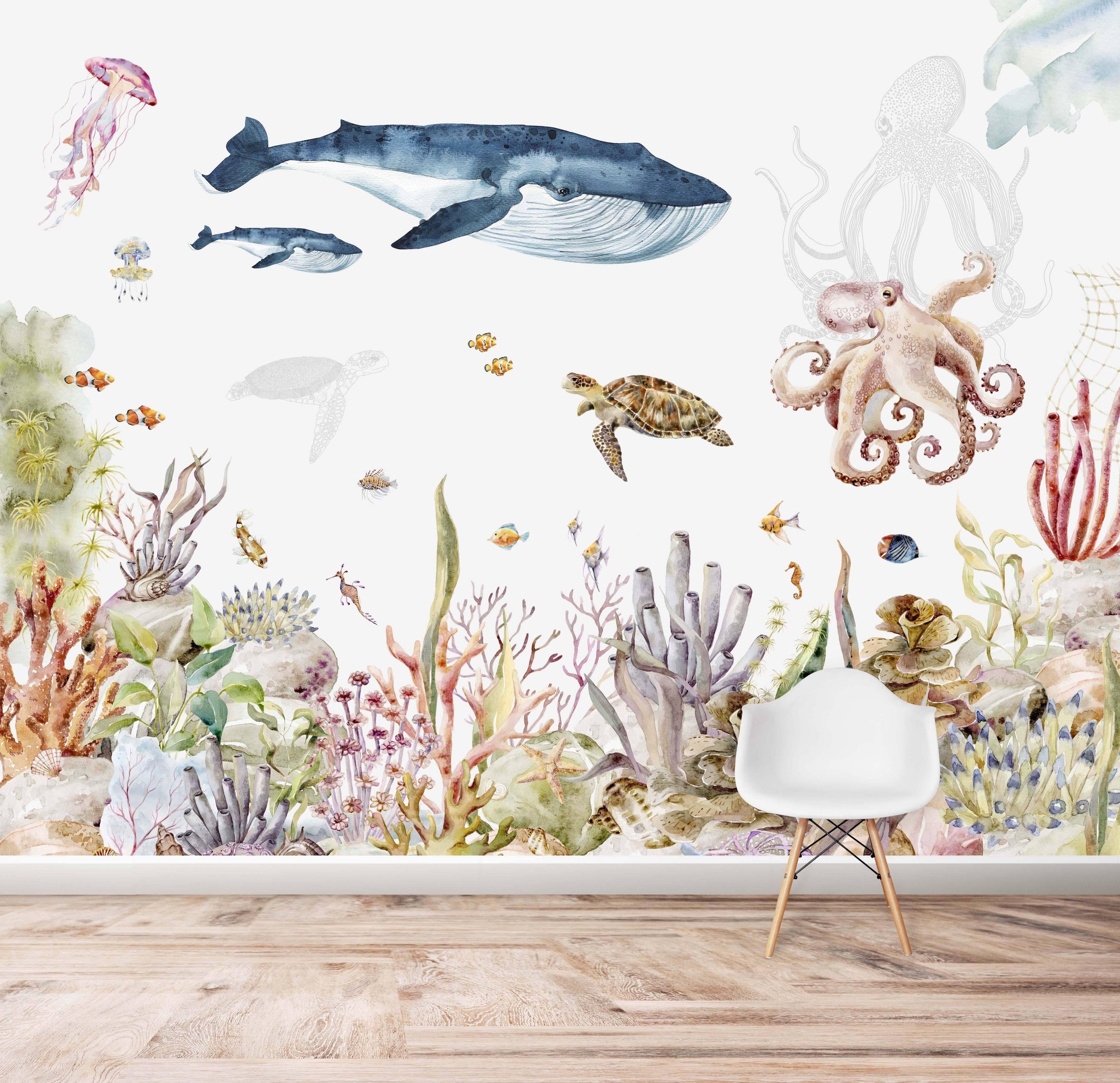 Under The Sea Wallpaper | Watercolour | Mural