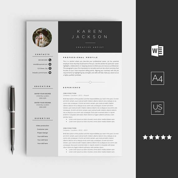 Graphic Design Resume Template Creative Resume Template For Word Instant Download Cv  Web And