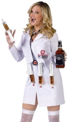 d4dc30972d812 Fun World Sexy Funny Doctor Shots Adult Halloween Nurse Costume Comprises  lab coat 4 syringes and stethoscope. Does no longer come with alcohol  stockings or ...