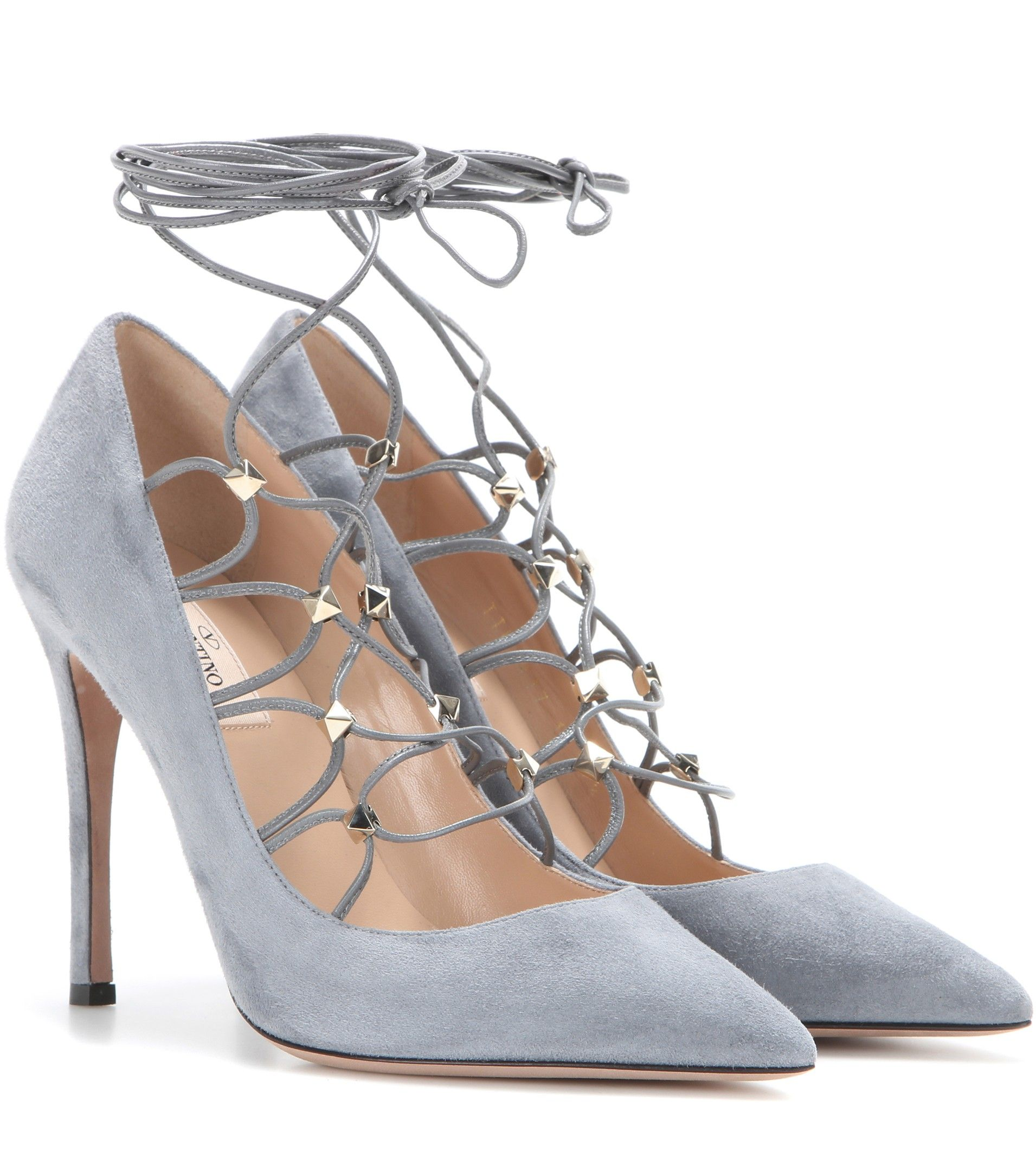 0a79a09910533 Valentino Rockstud suede lace-up pumps Light Blue $139.00 | Wardrobe ...