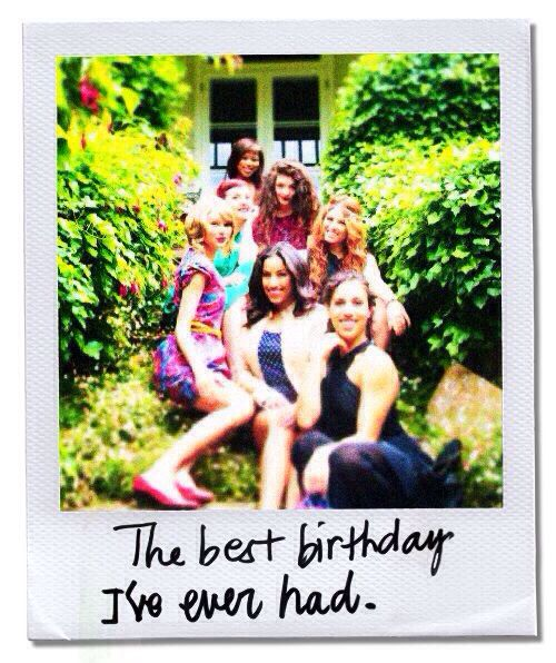 Taylor celebrating her birthday at a garden party with friends (: