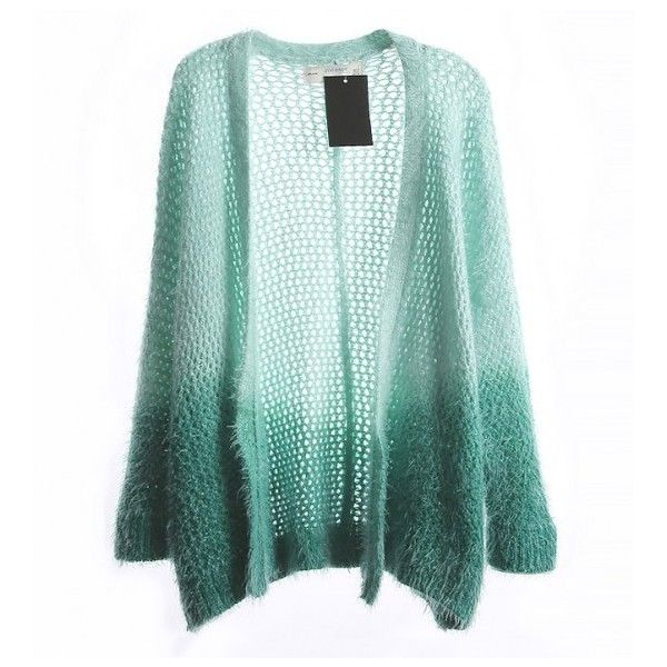 12e5b3a1068c Loose Knit Fluffy Cardigan With Ombre Effect ( 28) ❤ liked on ...