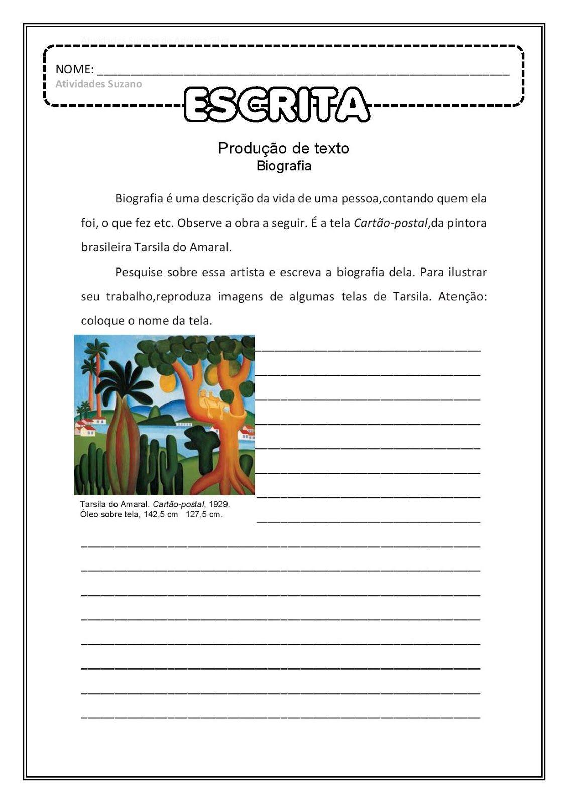 Biografia E Releitura Em Pdf Atividades De Artes Visuais