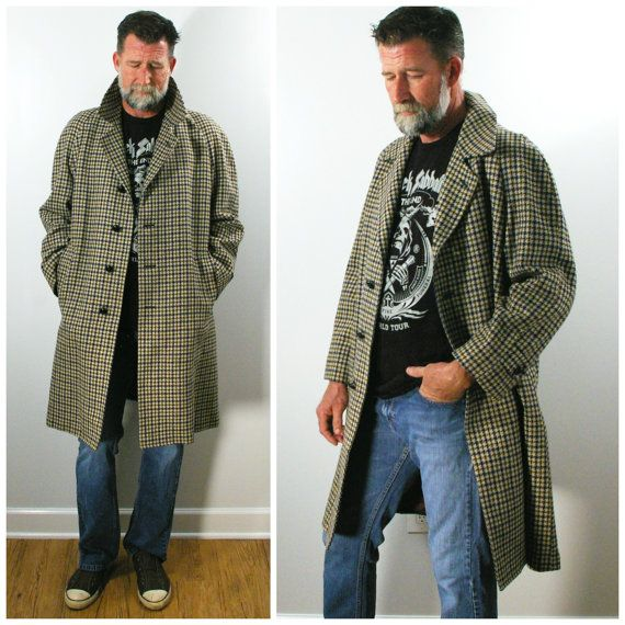 Vintage Mens Overcoat Houndstooth Plaid Wool Storm Coat By Etsy Mens Overcoat Winter Coat Warmest Overcoats