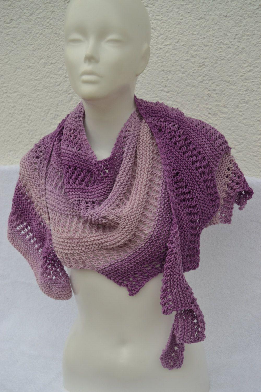Drachenschal Tuch Zackentuch lila violett flieder meliert gestrickt von Masche21 auf Etsy