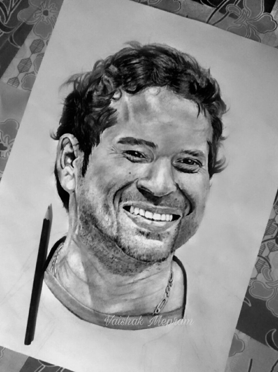 Pencil drawing pencil sketch of sachin tendulkar by vaishak mepram