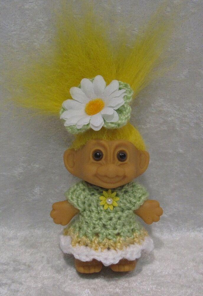 """Crochet Dress Russ Headband Wishnik #11 Clothes Made to fit 2½-3/"""" TROLL Dam"""