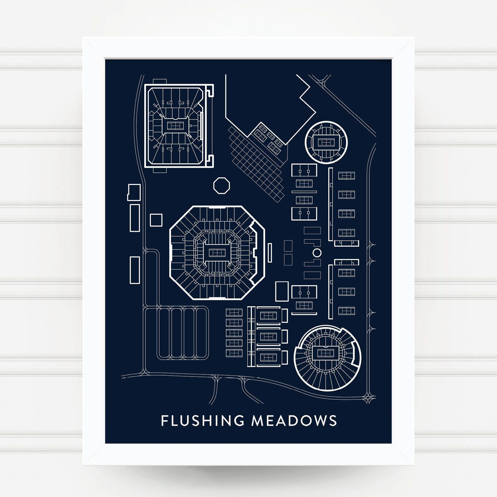 Flushing Meadows Tennis Print Us Open Gift Billie Jean King - Us-open-tennis-center-map