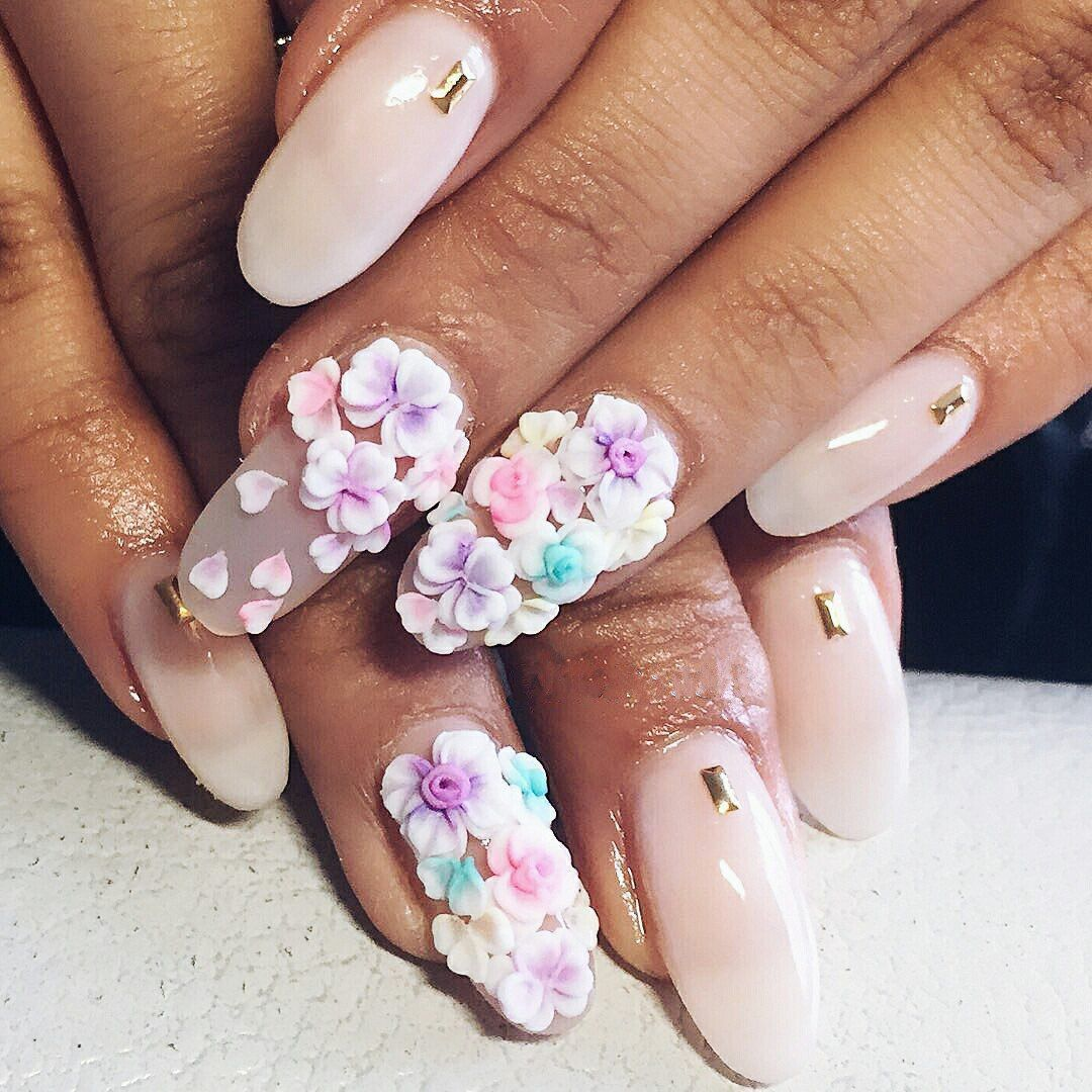 3d acrylic flowers nail art - #nails #nail art #nail #nail polish ...