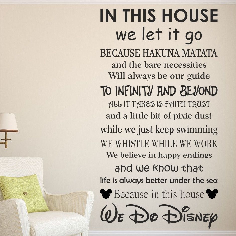 Quote Wall Art details about we do disney house rules vinyl wall art sticker