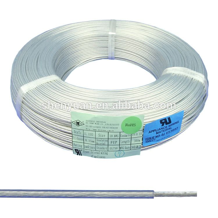 16 18 20 22 24 AWG transparent teflon silver plated copper wire ...