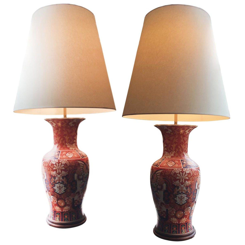 Pair Of Tall 1940s Imari Ceramic Table Lamps In 2020 Ceramic Table Lamps White Ceramic Lamps Art Deco Table Lamps