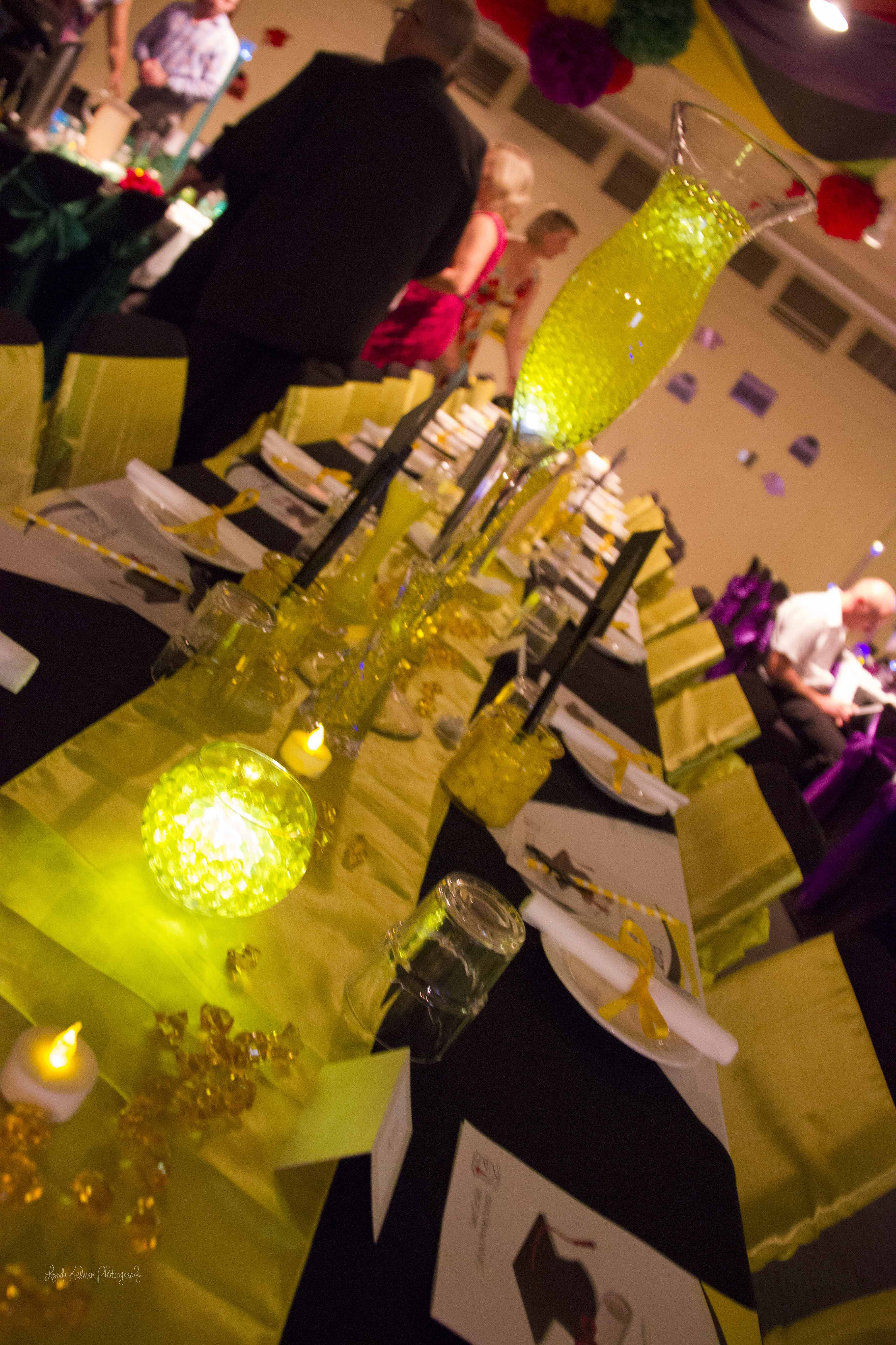 My chair covers and sashes table runners and glass centrepieces