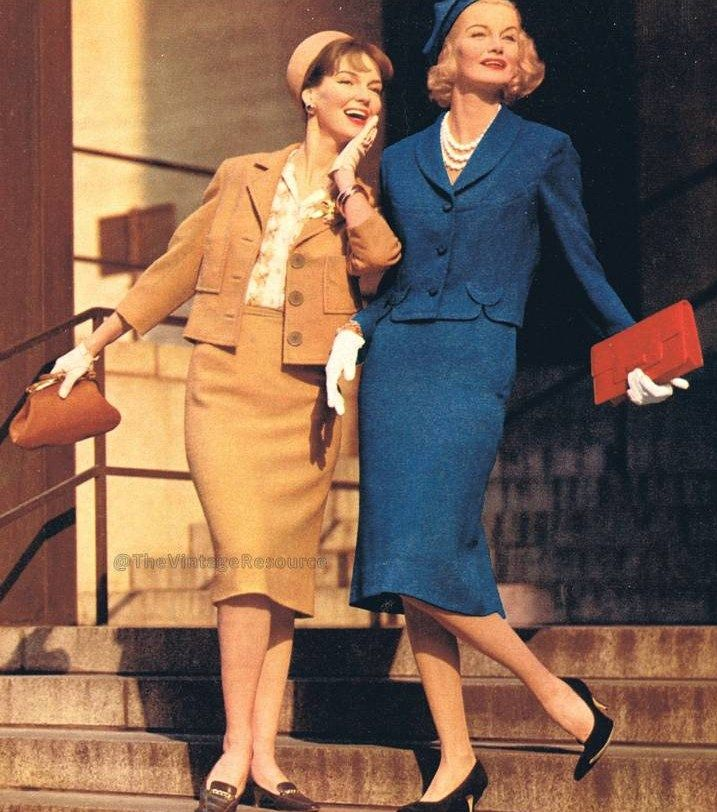 1959 Vintage Fashion Style Blue Tan Suit Jacket Skirt 60s 60s Models