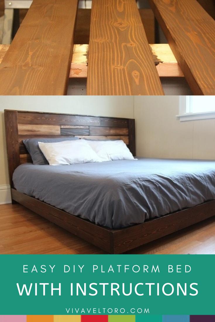 Easy Diy Platform Bed With Instructions In 2020 Diy Platform