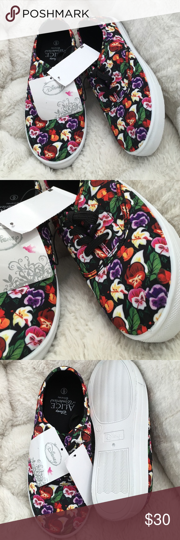 alice in wonderland sneakers the flowers from the movie design on the shoes. im normally a 6.5 and these fit just right for a size 6. Disney Shoes Sneakers