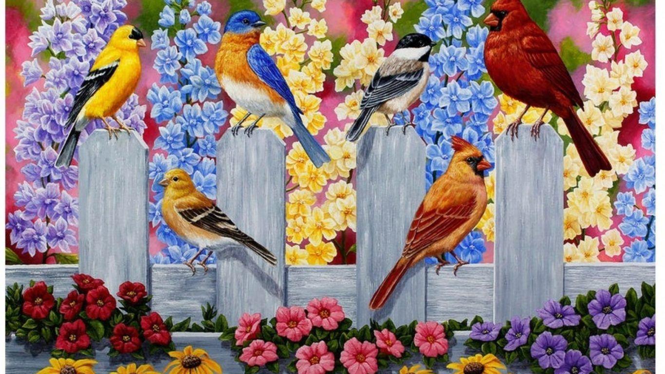 Birds Springtime Flowers Fence Party Garden Spring