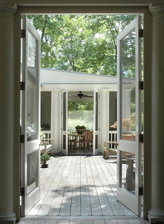 Love The Double Screen Doors How Could I Possible Do This In My Kitchen Double Screen Doors House Exterior House