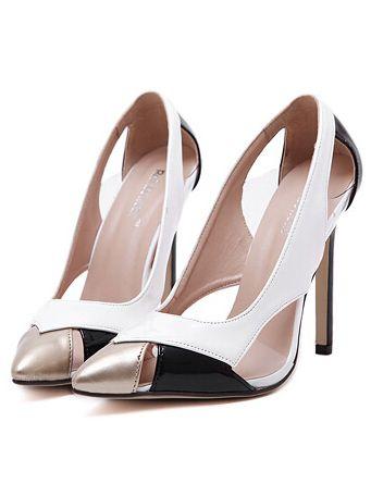 White Point Toe Pierced High Heeled Pumps -SheIn(Sheinside)