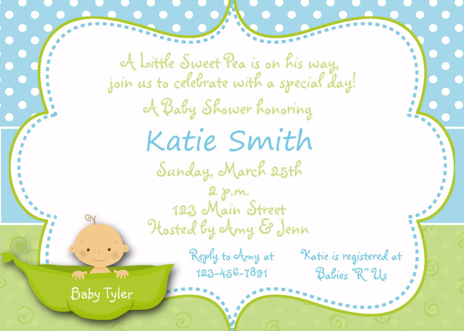 Pea in a pod Baby shower invitation - sweet peablue and green baby ...