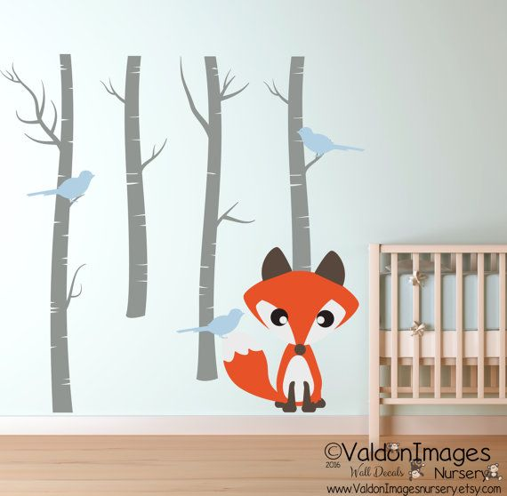 Baby Fox Wall Decal By Valdonimagesnursery Foxes Birchtrees