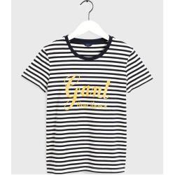 Photo of Gant Gestreiftes Logo T-Shirt (Blau) Gant