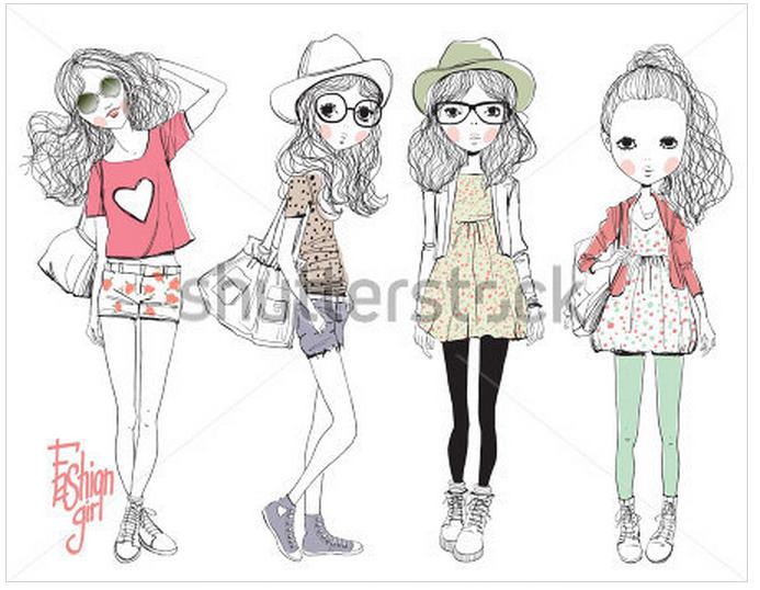 girls fashion sketch - Sketches Of Kids