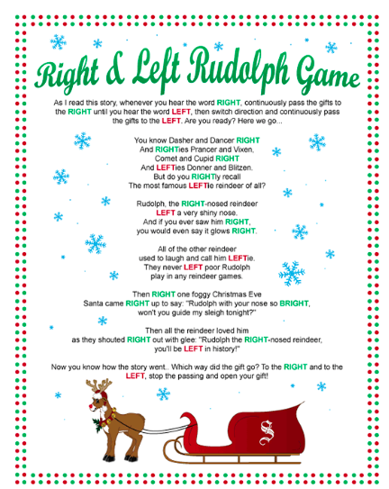 Christmas left right gift exchange games