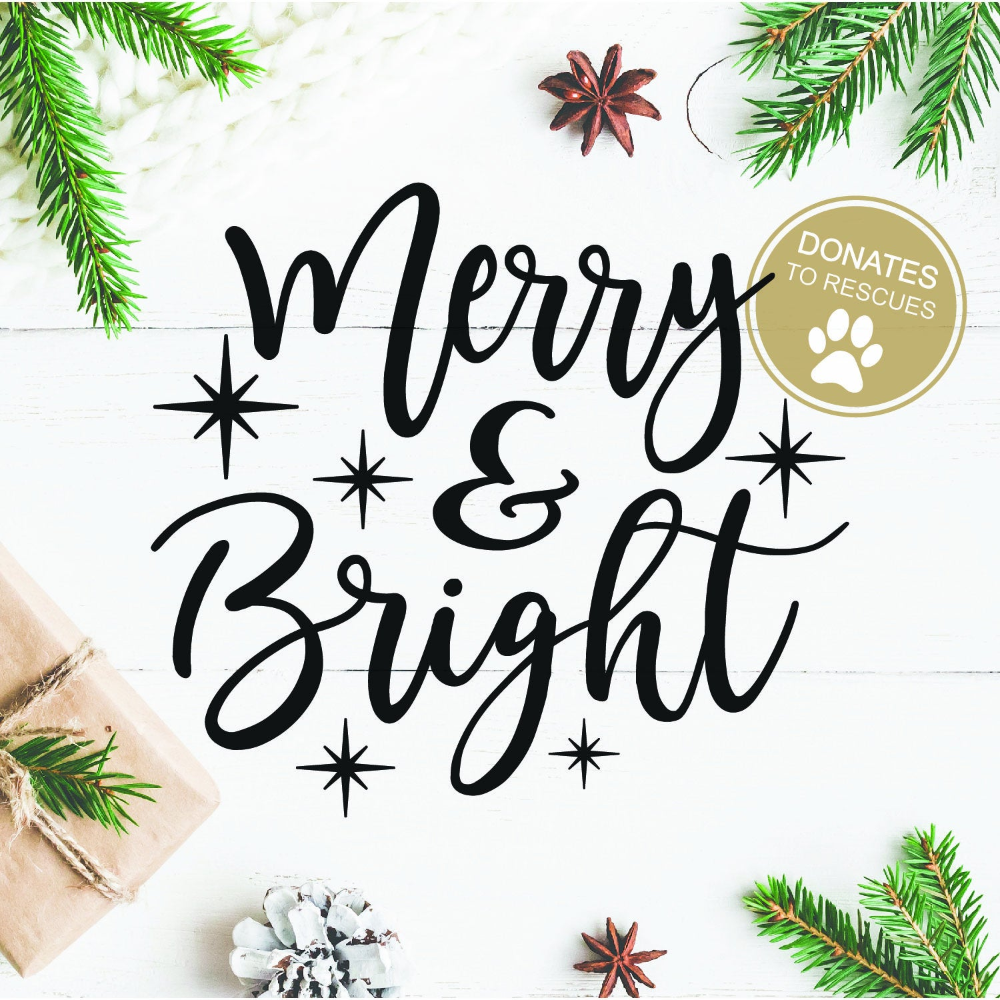 Merry & Bright Holiday SVG DXF digital download Etsy