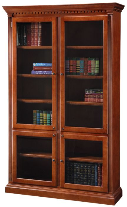 California Made Cherry Wood Crown Molding Bookcase With Glass Doors In 2020 Wood Crown Molding Bookcase With Glass Doors Glass Door