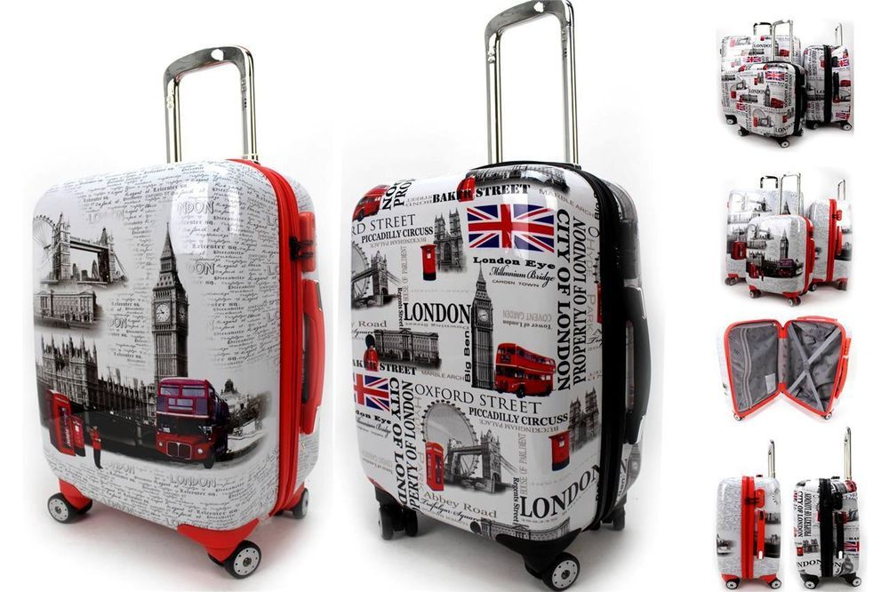Super Light Weight Hard Case 4 Wheel Spinner ABS London Print Cabin Luggage