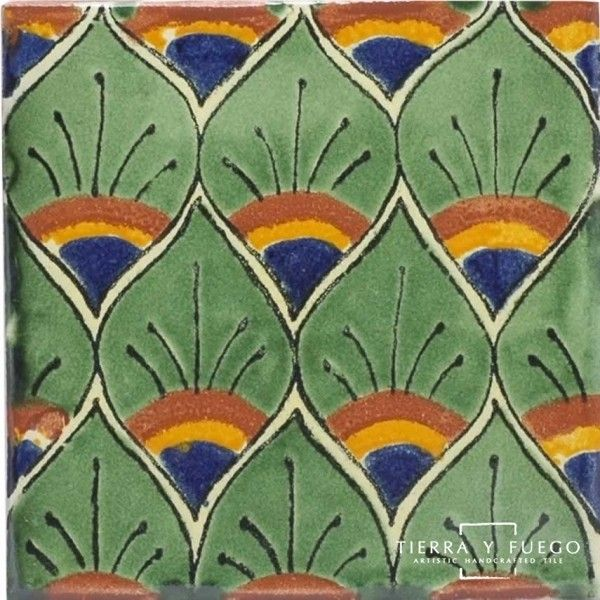 Green Peacock Feathers Talavera Mexican Tile 199 Liked On Polyvore