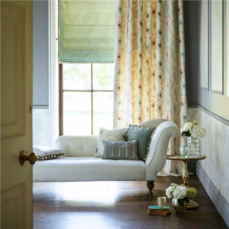 rideaux chambre adulte à motifs, store en tissu vert pâle et ...