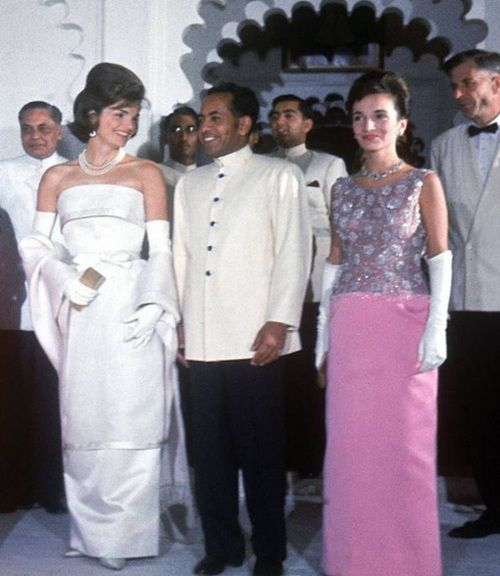 First Lady Jackie Kennedy with her sister Lee Radziwill and Indian Amabassador to the U. S., B. K. Nehru on goodwill tour, 1962