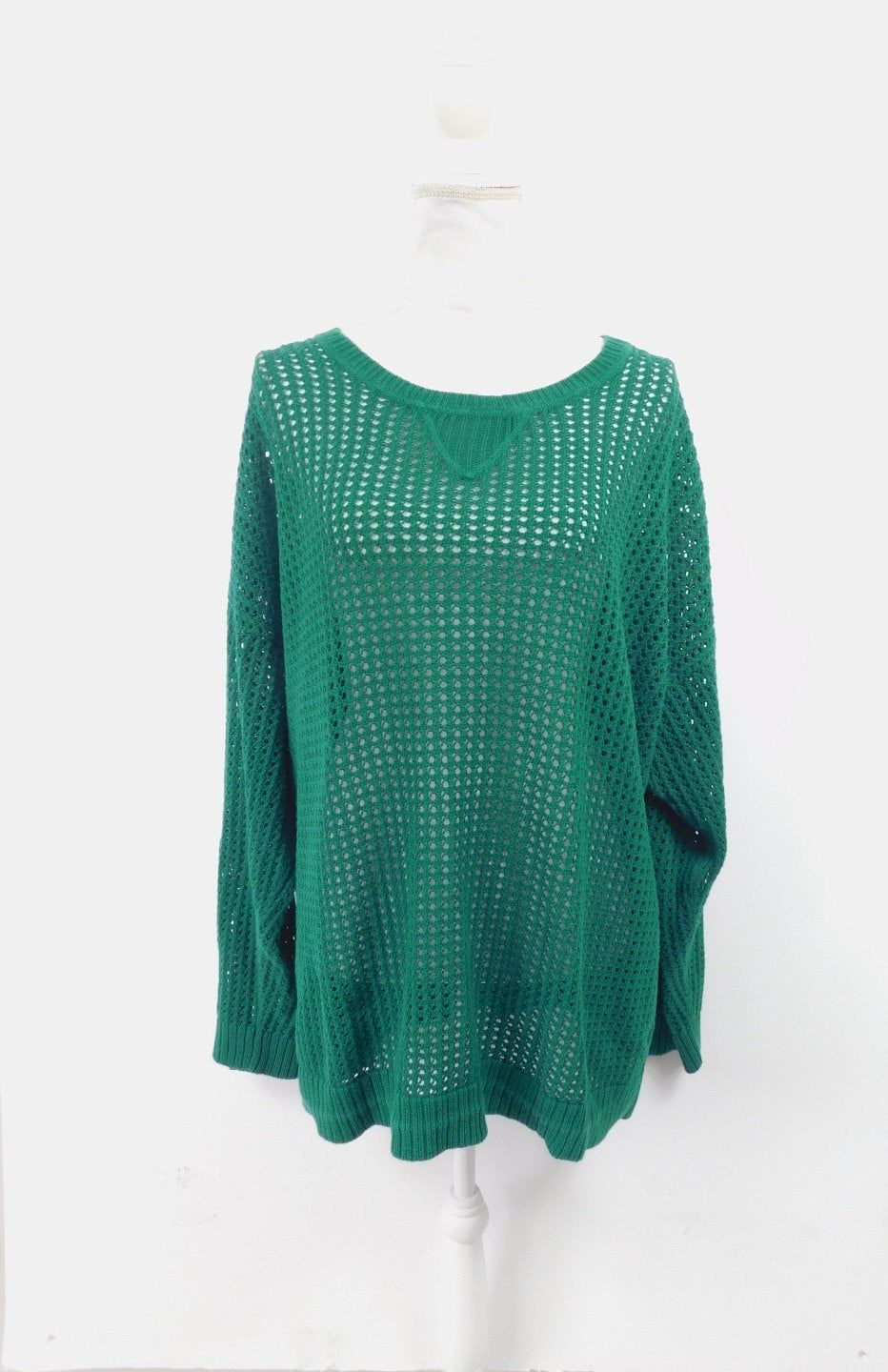 Photo of Vintage 1990s Jeanne Pierre Kelly Green Cotton Sheer Ribbed Knit Hipster Crewneck Long Sleeve Sweate