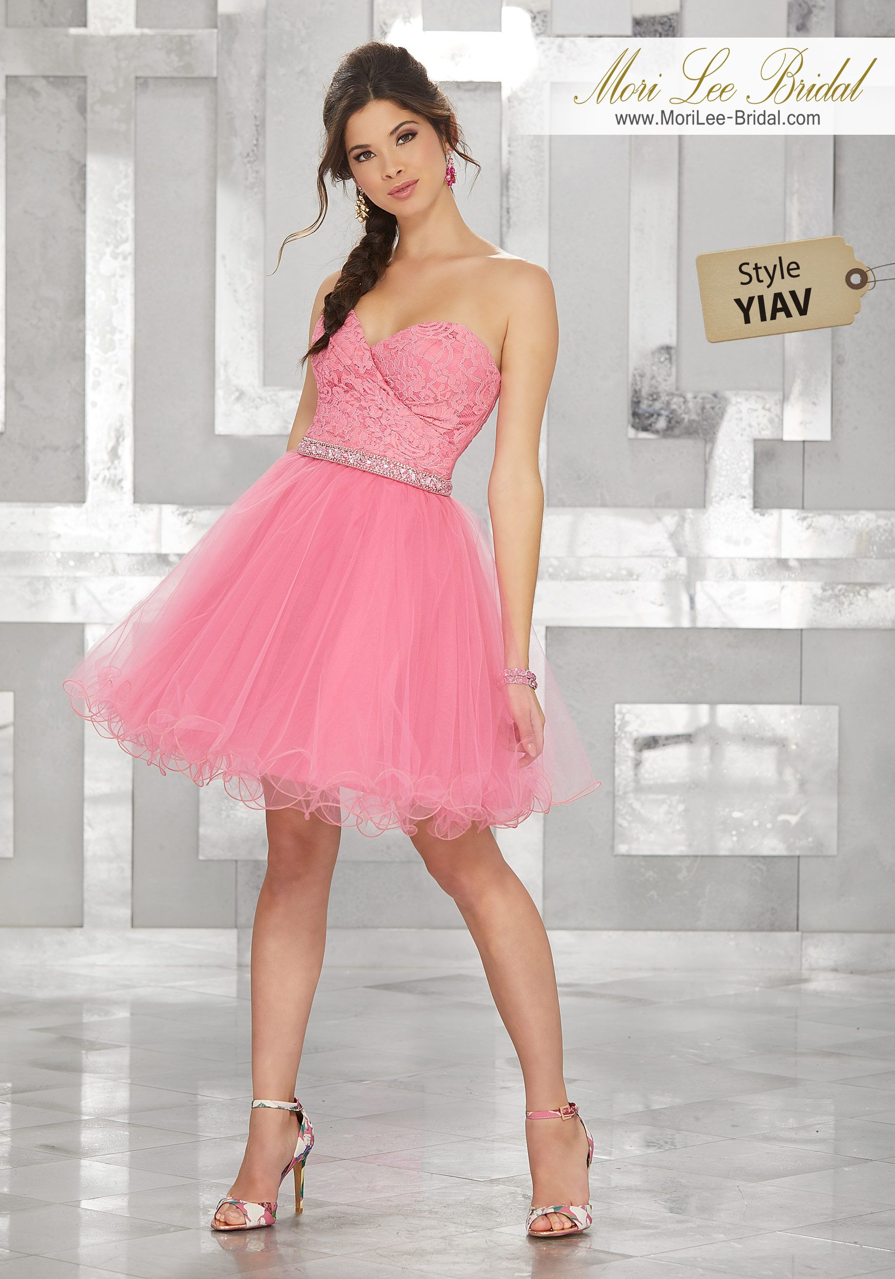 Style YIAV Lace and Tulle Party Dress with Beaded Waistline ...