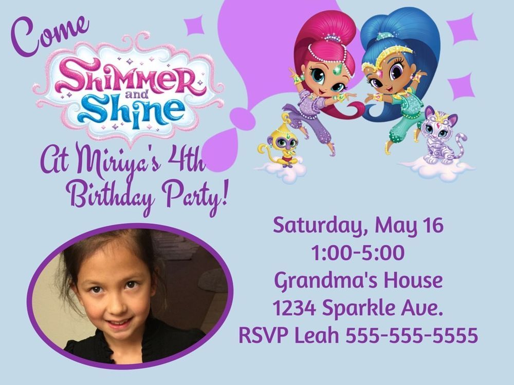 Details about Shimmer And Shine Custom Birthday Invitation Digital