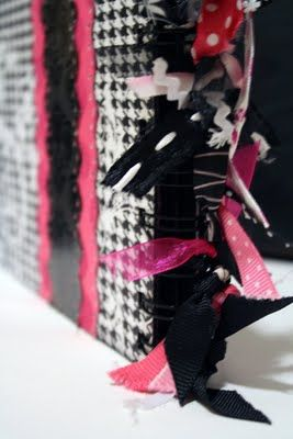 tie ribbon to the spine of books - genius!