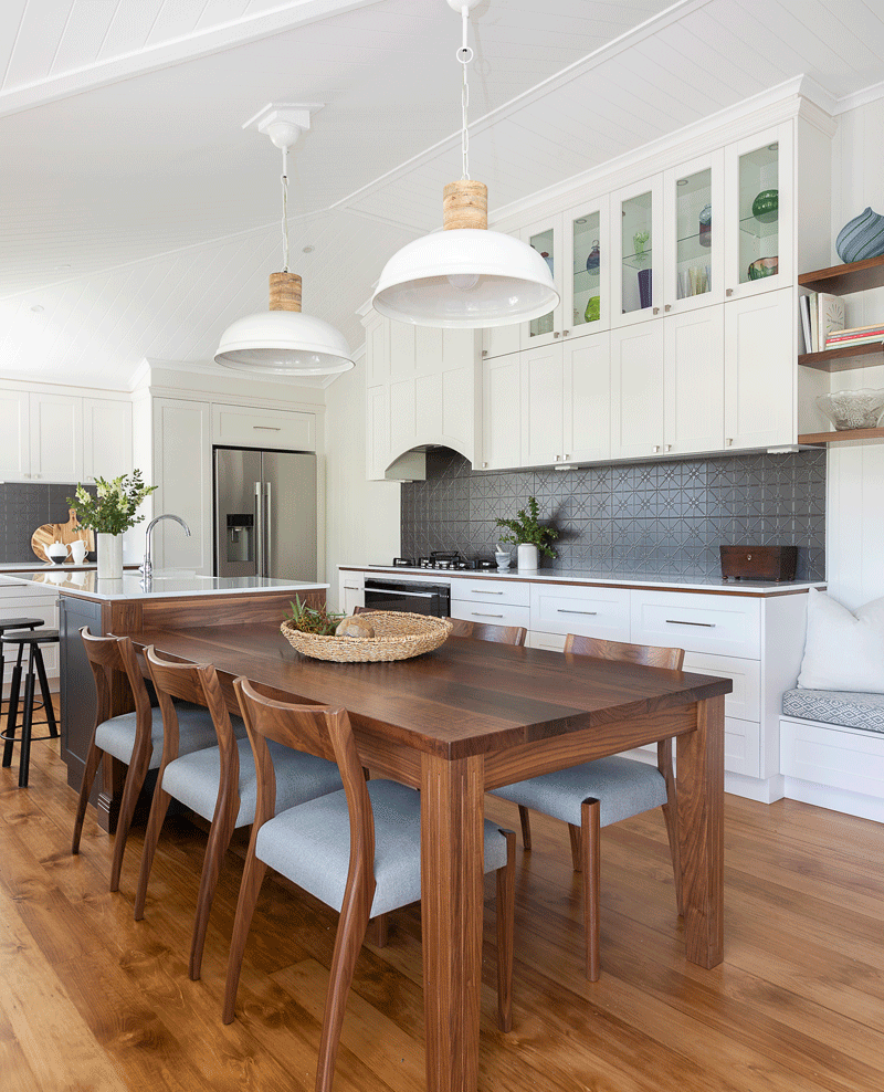 Walnut Dining Table Pressed Metal Look Tiles Kitchen Island With Integrated Dining Table Kitchen Inspiration Design Timber Dining Table Walnut Kitchen Island