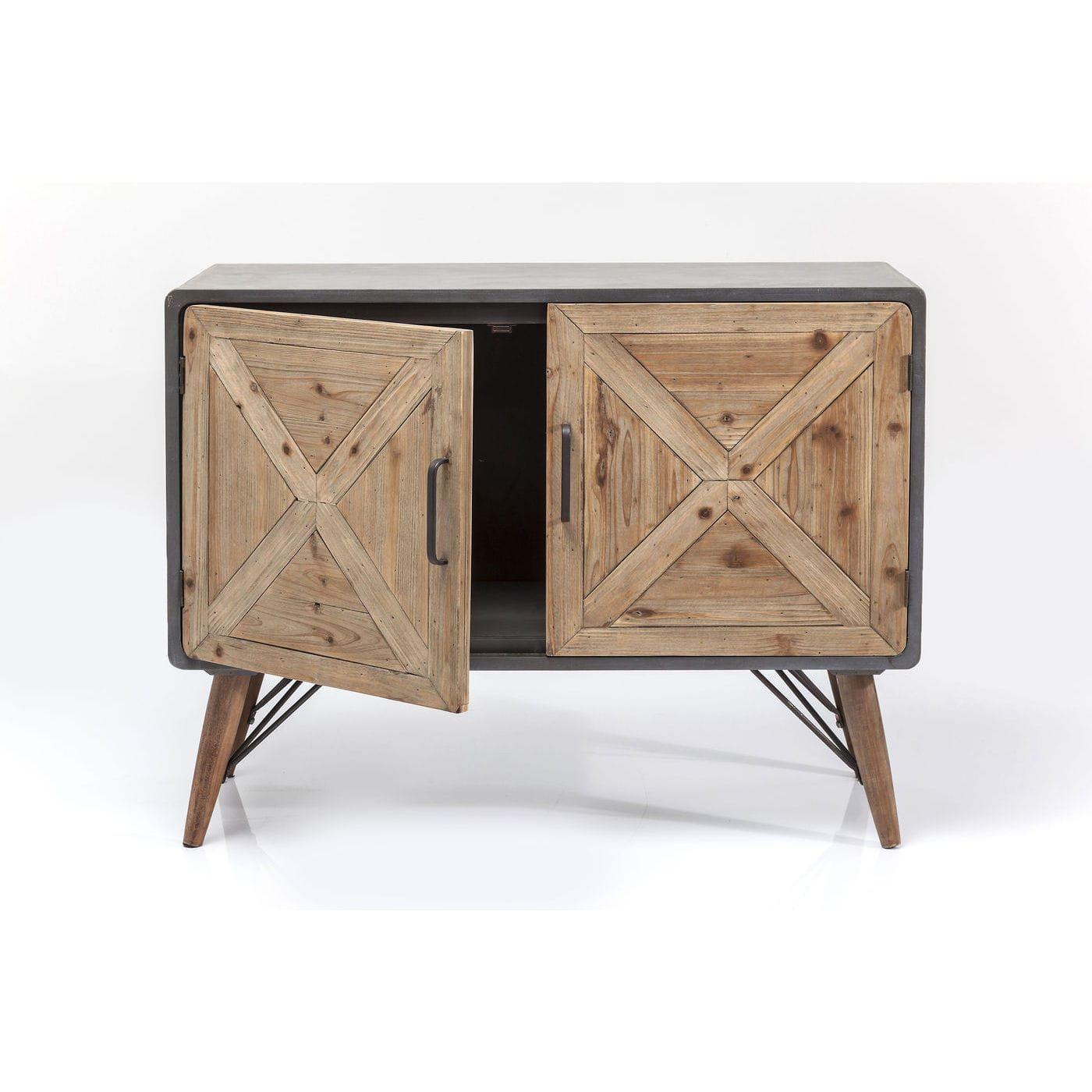 Aparador en madera de roble natural y patas de acero. 3 puertas con ...