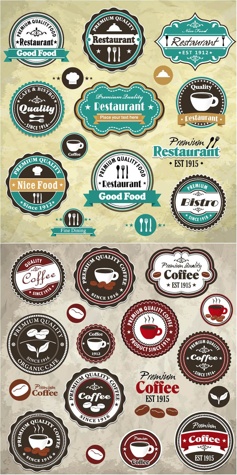 Sets with vector stylish retro coffee and restaurant