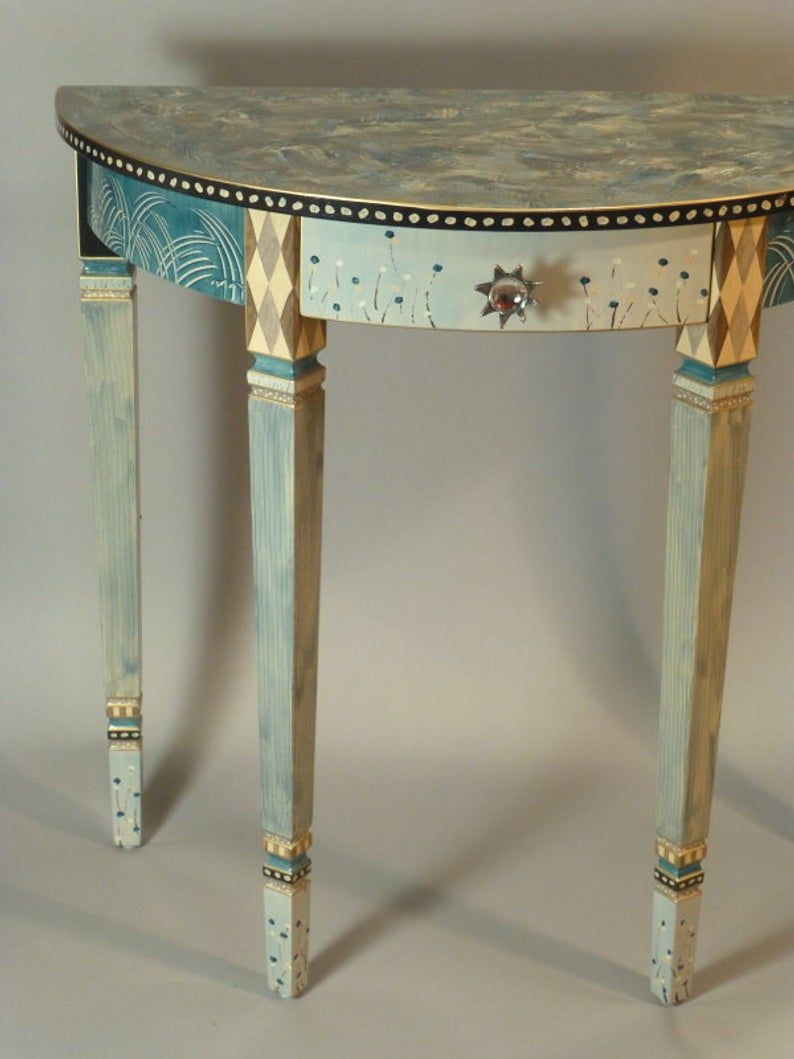 Handpainted Demi-Lune Hall Table: Teal-grey