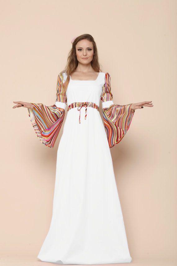 Boho Summer Wedding Bell Sleeve Dress, Medieval Wedding Dress, Plus ...