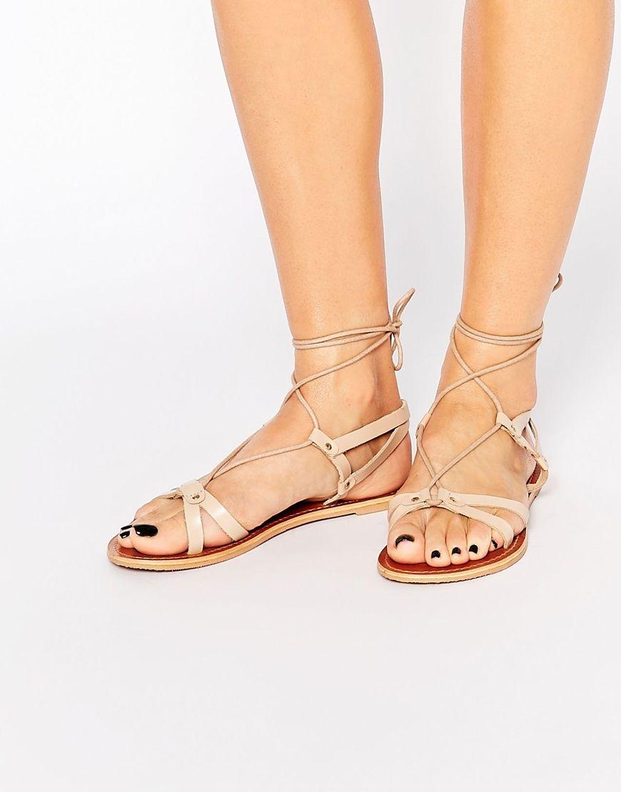 cb9c0f7606ac Image 1 of ASOS FONDA Leather Lace Up Flat Sandals