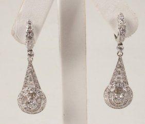 PAIR OF 18K WHITE GOLD DIAMOND EARRINGS