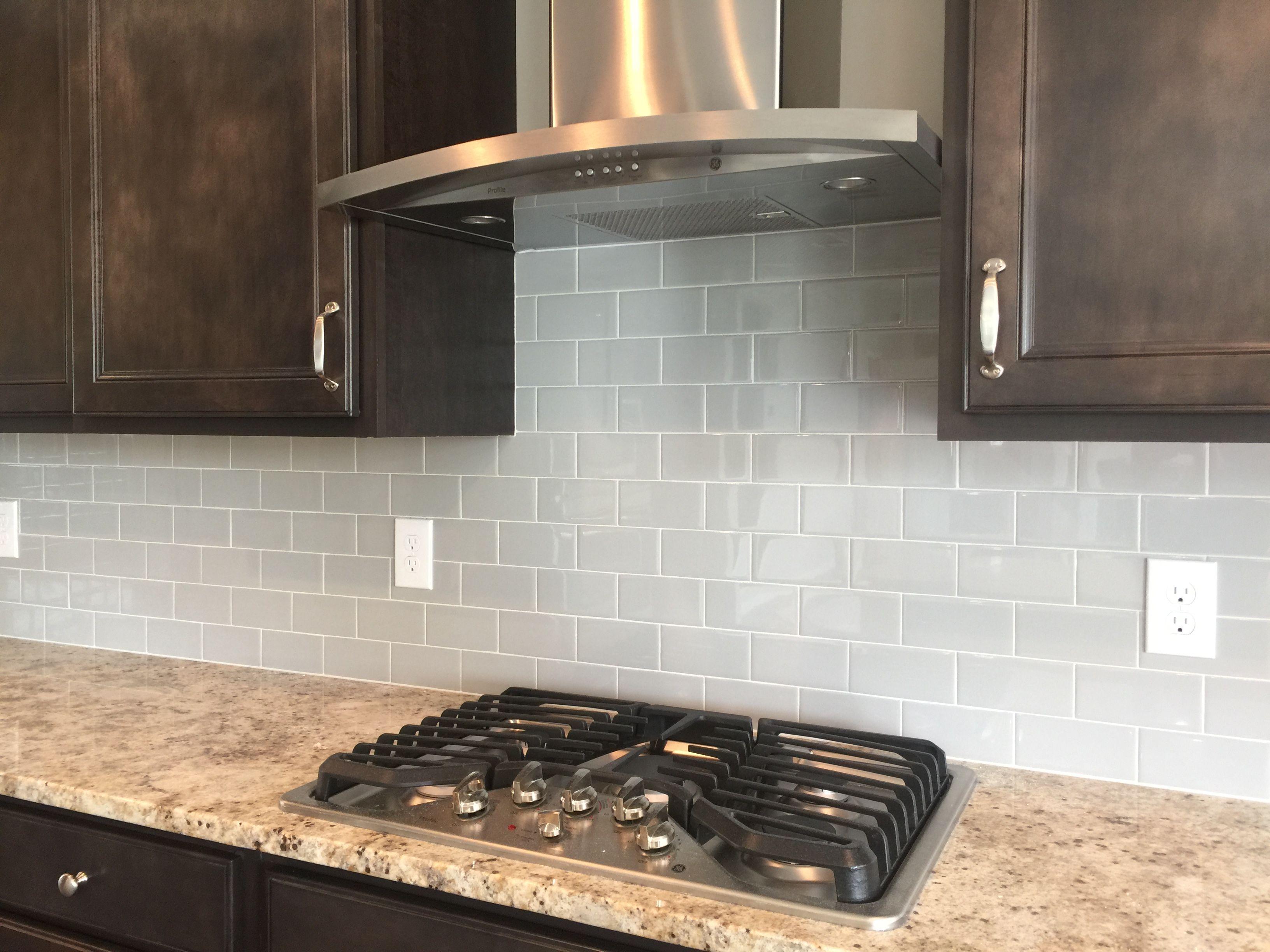 - 3x6 Subway Tile, Desert Gray Backsplash, Installed Brick Joint