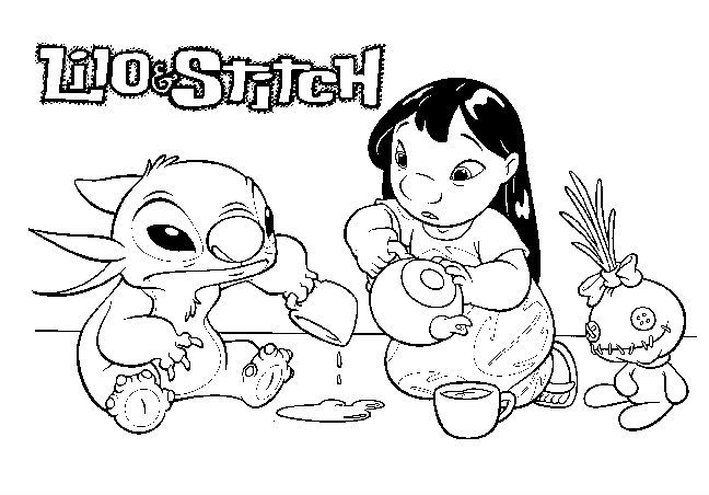 lilo and stitch water play - Lilo And Stitch Coloring Pages