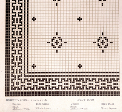 Early 1900s Mosaic Floor Tile Pattern From American