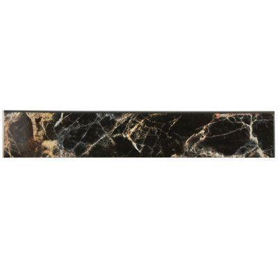 "Decorative Bullnose Tile Trim New Elitetile Elypse 1775"" X 325"" Bullnose Tile Trim In Negro Inspiration"